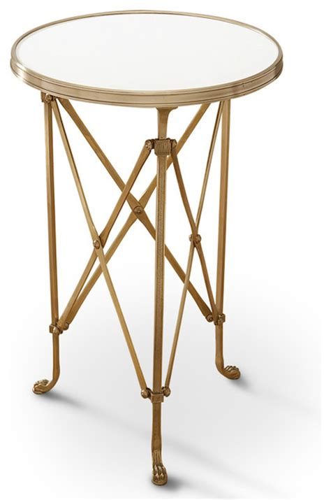 Gold End Table by Directors Cut Regency Gold White Marble
