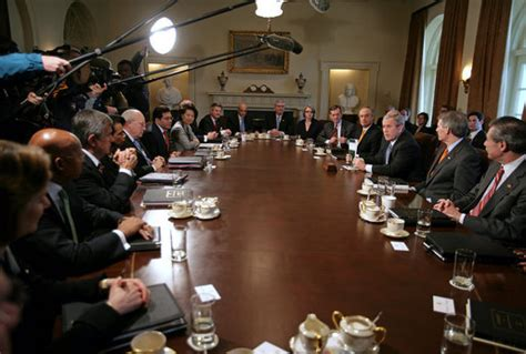 cabinet of the united states president bush meets with the cabinet