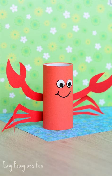 Kid Paper Crafts - paper roll crab craft easy peasy and