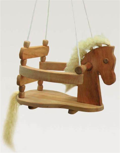 wooden horse swing toy swing