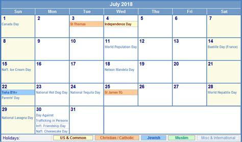 Calendar 2018 Template With Holidays July 2018 Calendar With Holidays Calendar Template Excel