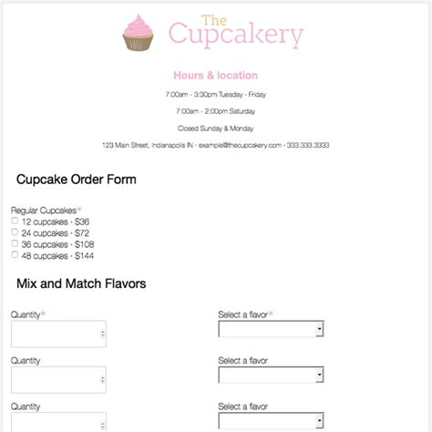 bakery order form template bakery order form template achievable likeness cupcake