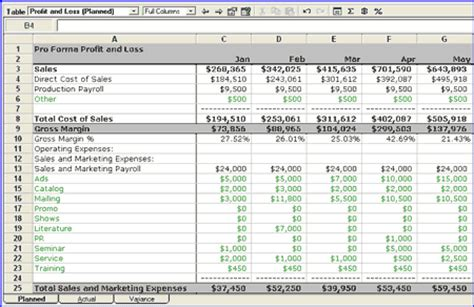 Plan Vs Actual Part 2 Cash Flow And Profit And Loss Bplans Business Plan Profit And Loss Template