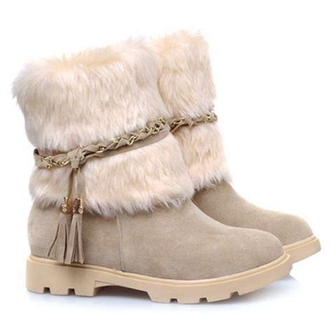 boots with fur snow boots faux fur and fringe s save your money