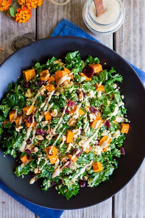 fall quinoa salad  kale sweet potato maple tahini
