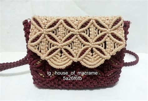 Tas Gesit Macrame Coklat Kopi tas tali kur modifikasi menggunakan tutup warna coklat maroon za galery macrame and crochet