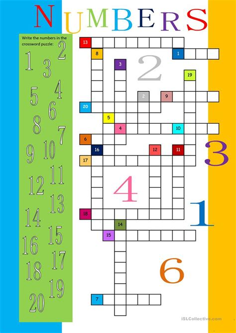 esl printables numbers 1 20 numbers 1 20 crossword worksheet free esl printable