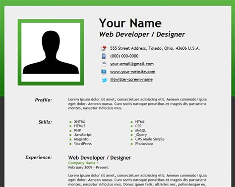 Job Resume Demo by How To Create An Html5 Microdata Powered Resume