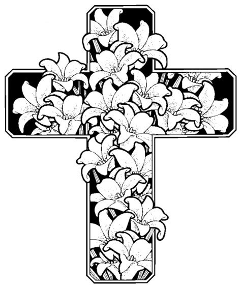 coloring pages of roses and crosses drawings of crosses with flowers cliparts co