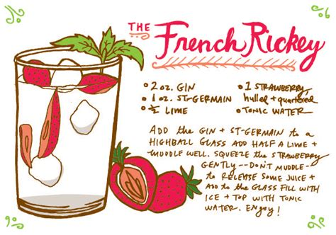 cocktail recipe cards friday happy hour the french rickey
