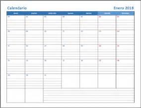Calendario 2018 Mes A Mes Calendarios 2018 En Excel Para Imprimir Y Editables