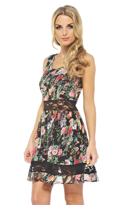 Get The Look Black White Floral Dresses For 100 by Multi Cocktail Dress Black Floral Skater Dress With