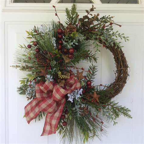 holiday wreath christmas wreath rustic wreath holiday wreath winter