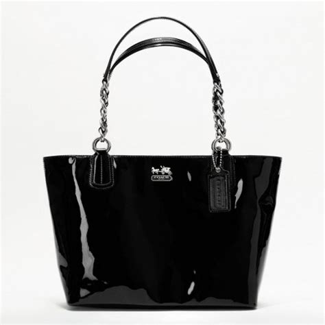 Hardy Leather And Patent Zip Top Purse by Coach Patent Leather Zip Tote Handbag Purse 20484