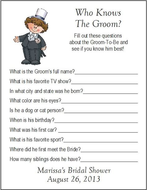 Bridal Shower Ask The Groom Questions by 24 Personalized Who Knows The Groom Bridal Shower
