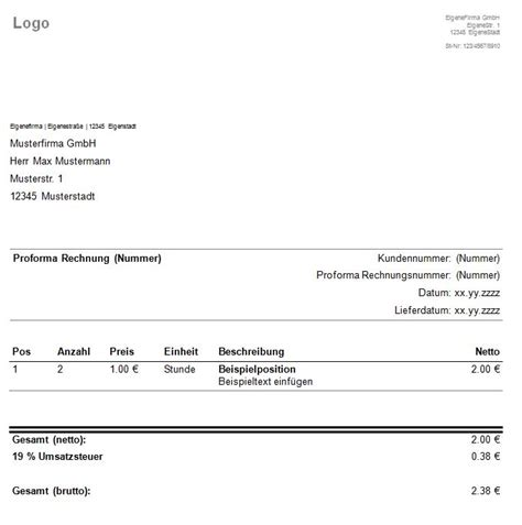 Rechnungskorrektur Muster 2013 proforma rechnung rechnungsvorlage