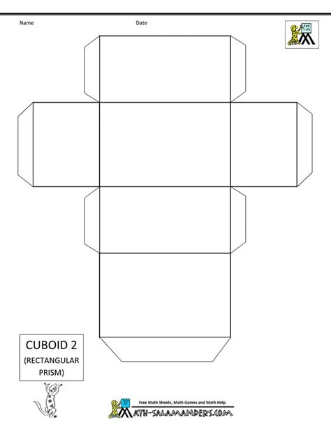geometry net templates 3 d shapes cuboid net 2 tabs math 3d