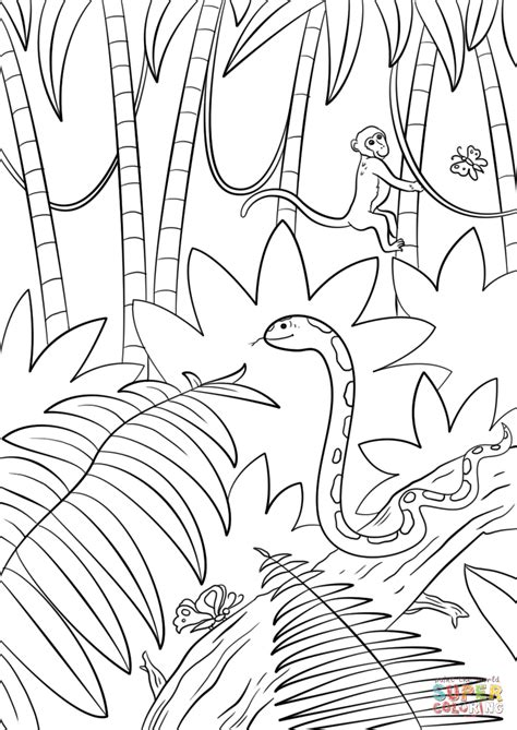 coloring pages of jungle scenes jungle scene coloring page free printable coloring pages