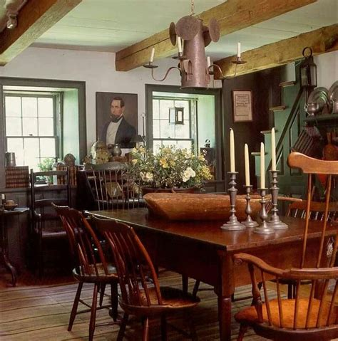 colonial dining room farmhouse interior vintage early american farmhouse