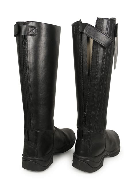 equi comfort riding boots black horse riding equi leather standard wide long boots