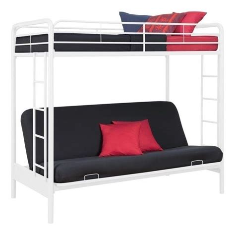 Metal Bunk Bed Frame With Futon Dhp Metal Futon Bunk Bed In White Transitional Ebay