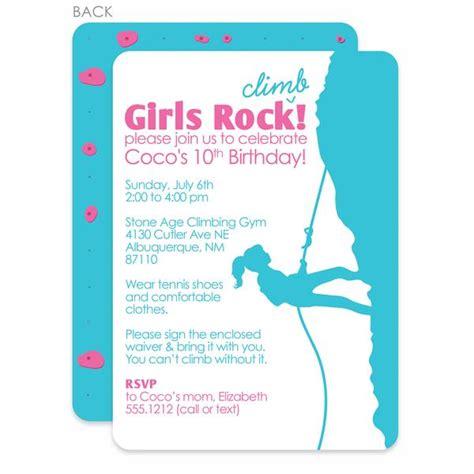 Rock Climbing Girl Birthday Invitation Printed Pipsy Rock Climbing Log Book Template