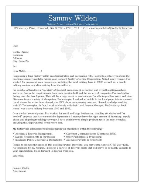 types of cover letters cover letter exle for shipping receiving professional