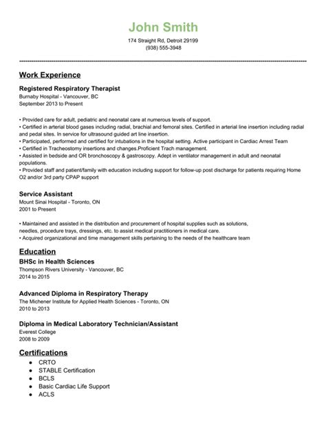 Resume For Exles by Respiratory Therapist Resume In Dallas Tx Sales Therapist Lewesmr