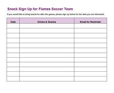 This Team Snack Schedule Sign Up Form Is Designed For Kids Sporting Events Where The Parents Football Snack Schedule Template