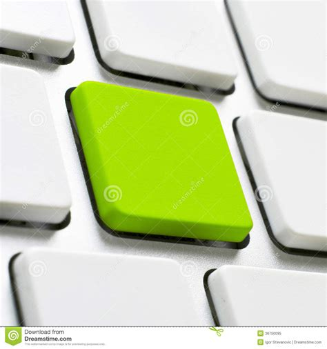 Computer Keyboard With Green Button Royalty Free Stock Photo Image 36750095