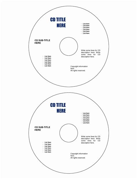 Printable Cd Labels