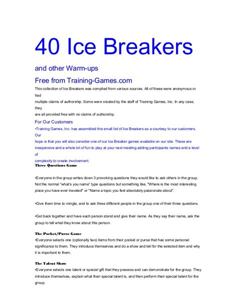 free printable ice breaker games for adults 40 ice breaking