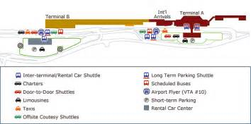San Jose Airport Map by Terminal Map And Shuttle Stops At Sfo Oak Sjc Smf