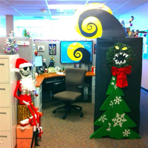 cubicle holiday decorating contest themes my nightmare before decorate cubical contest skellington awesome