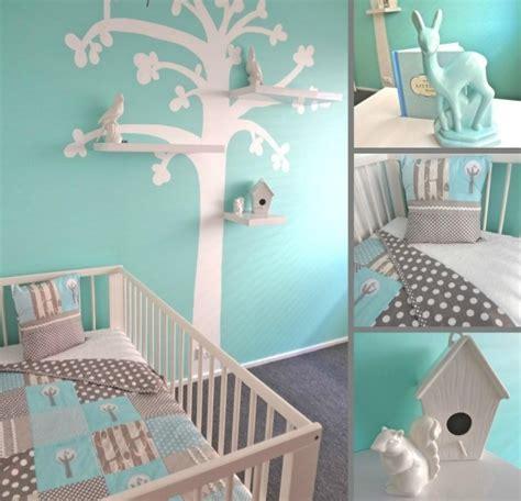 kinderzimmer baum regal babyzimmer gestalten aqua blau grau wandgestaltung baum