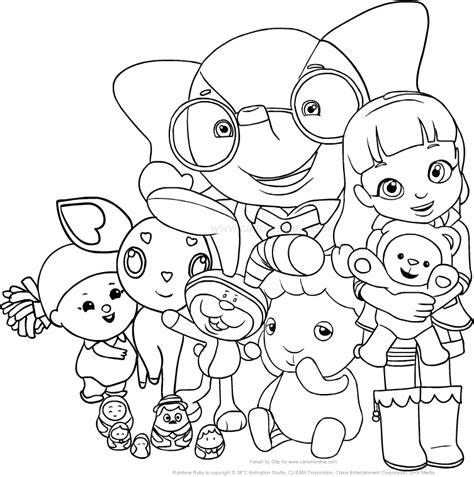 Disegno di Ruby Arcobaleno con i suoi amici del villaggio