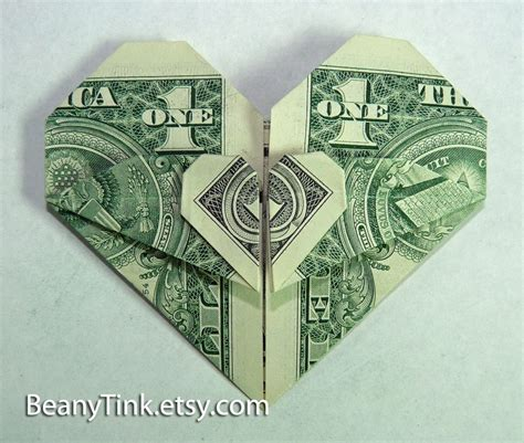 dollar origami 2 hearts lovetoknow link to