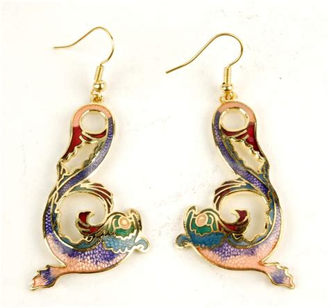 cloisonne earrings carp fish jewelry ebay