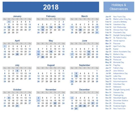 printable calendar year at a glance 2018 2018 one page calendar printable max calendars