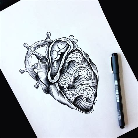 heartbeat wave tattoo thunder helm waves draw idea