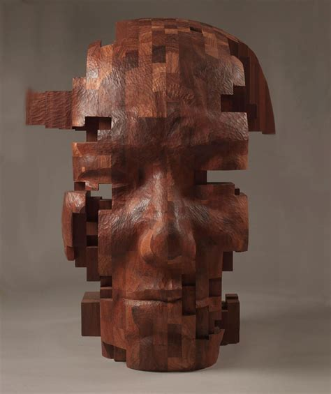 can sculpture pixelated wood sculptures carved by hsu tung han colossal