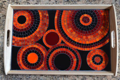 Handmade Mosaic - handmade glass mosaic serving tray by ny mosaic