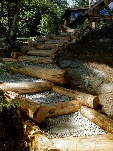 imagenes de jardines con troncos arquitectura de casas escaleras exteriores de troncos