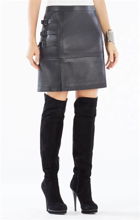 devan belted faux leather skirt