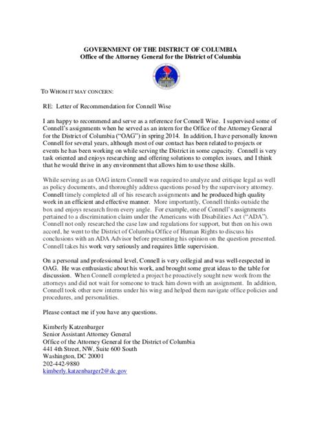 Recommendation Letter For Lawyer Oag Letter Of Recommendation For Connell Wise General