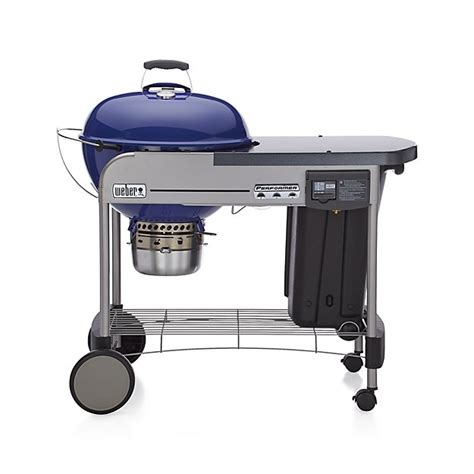 weber grills weber 174 blue performer deluxe charcoal grill crate and barrel
