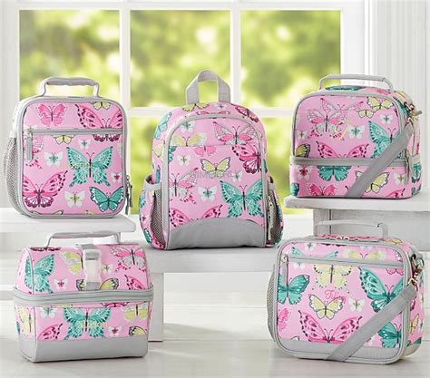 Arvita Lunch Bag Pink Butterfly mackenzie pink pretty butterfly lunch bags pottery barn