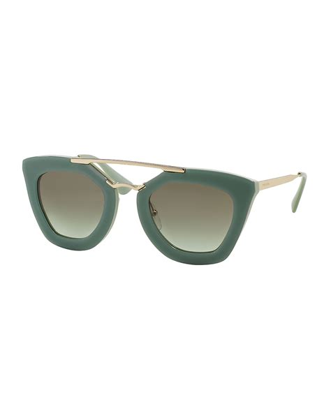 Acetatemetal Logo Sunglasses by Lyst Prada Acetate Metal Cat Eye Sunglasses In Green