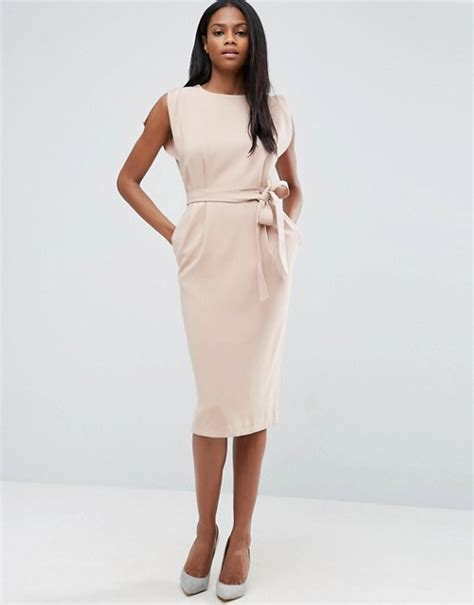asos asos belted midi dress with split cap sleeve and pencil skirt