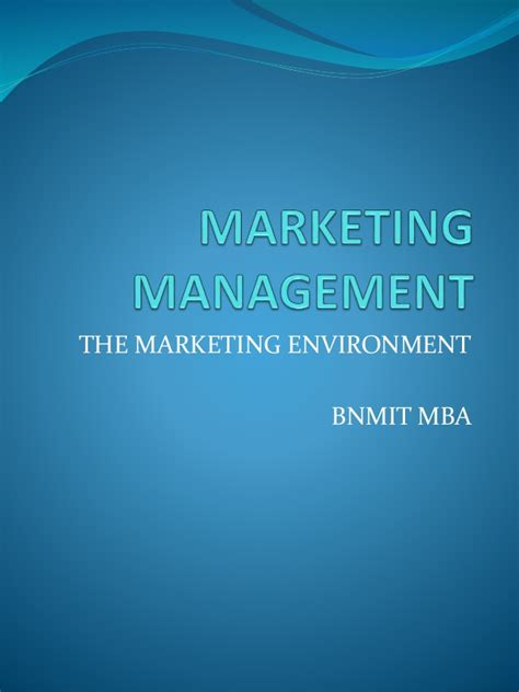 Mba In Environmental Management by Marketing Management